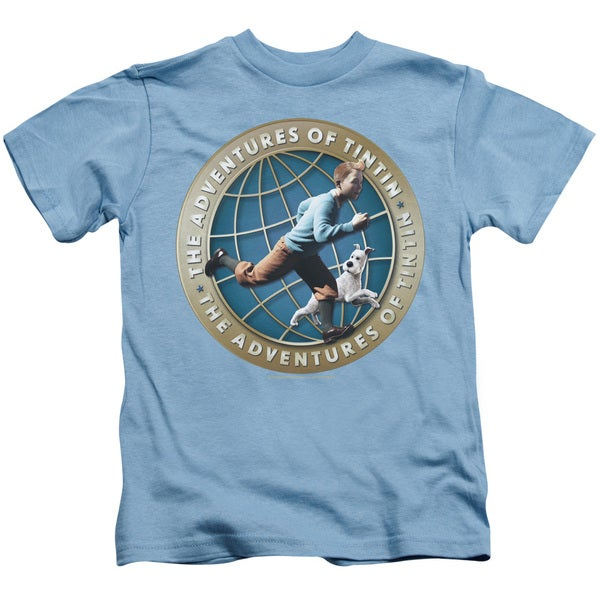 Tintin/Around The Globe Short Sleeve Juvenile Graphic T-Shirt in Carolina Blue