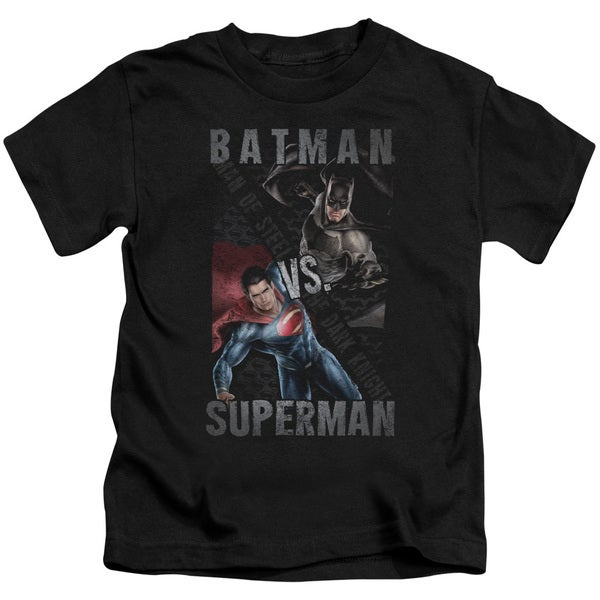 Batman Vs Superman/Hero Split Short Sleeve Juvenile Graphic T-Shirt in Black
