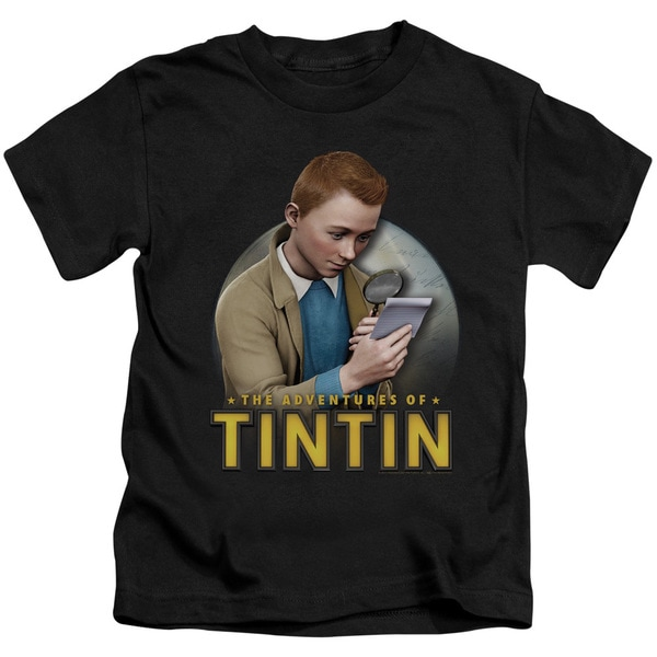 Tintin/Looking For Answers Short Sleeve Juvenile Graphic T-Shirt in Black