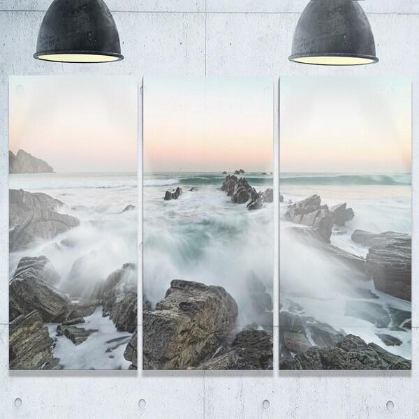 Bay of Beaky Vibrant White Waves - Modern Seashore Metal Wall At - 36Wx28H