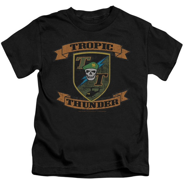 Tropic Thunder/Patch Short Sleeve Juvenile Graphic T-Shirt in Black