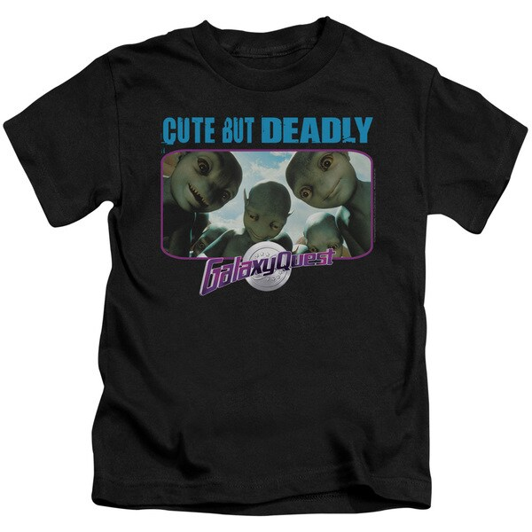 Galaxy Quest/Cute But Deadly Short Sleeve Juvenile Graphic T-Shirt in Black