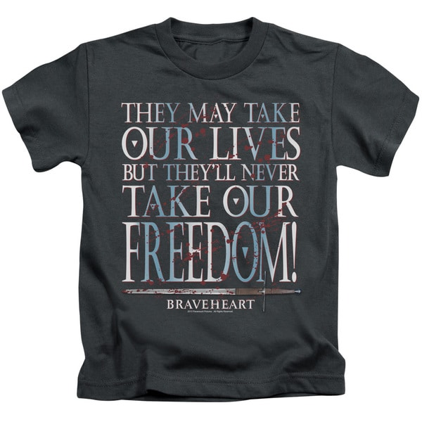 Braveheart/Freedom Short Sleeve Juvenile Graphic T-Shirt in Charcoal