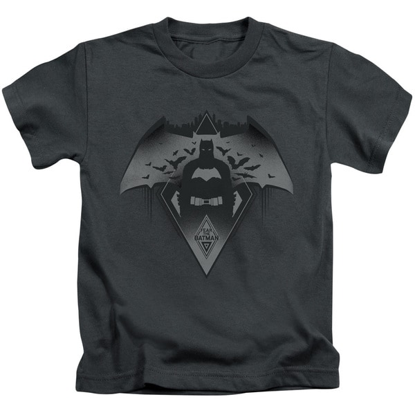 Batman V Superman/Fear Short Sleeve Juvenile Graphic T-Shirt in Charcoal