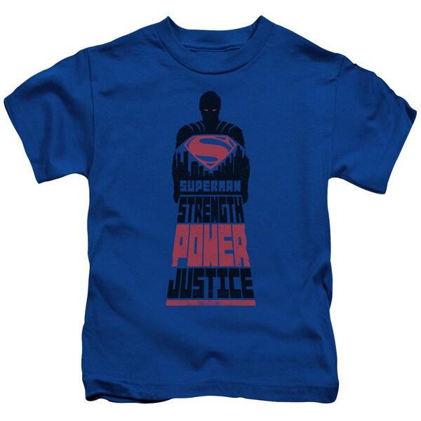 Batman V Superman/Super Justice Short Sleeve Juvenile Graphic T-Shirt in Royal