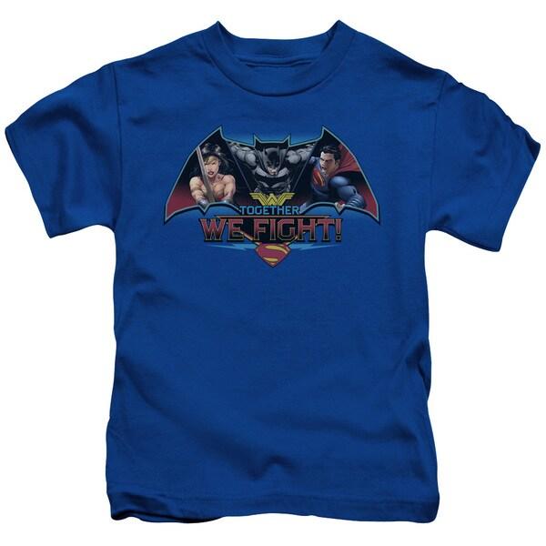 Batman V Superman/Together We Fight Short Sleeve Juvenile Graphic T-Shirt in Royal