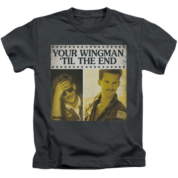 Top Gun/Til The End Short Sleeve Juvenile Graphic T-Shirt in Charcoal