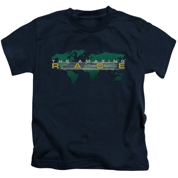 Amazing Race/Around The World Short Sleeve Juvenile Graphic T-Shirt in Navy