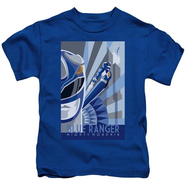 Power Rangers/Blue Ranger Deco Short Sleeve Juvenile Graphic T-Shirt in Royal Blue