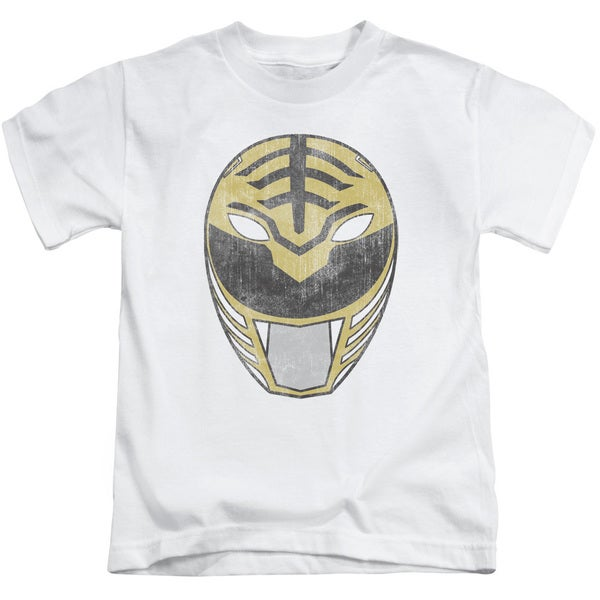 Power Rangers/White Ranger Mask Short Sleeve Juvenile Graphic T-Shirt in White