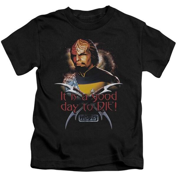 Star Trek/Good Day To Die Short Sleeve Juvenile Graphic T-Shirt in Black