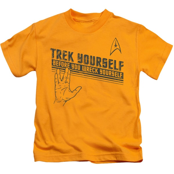 Star Trek/Trek Yourself Short Sleeve Juvenile Graphic T-Shirt in Gold