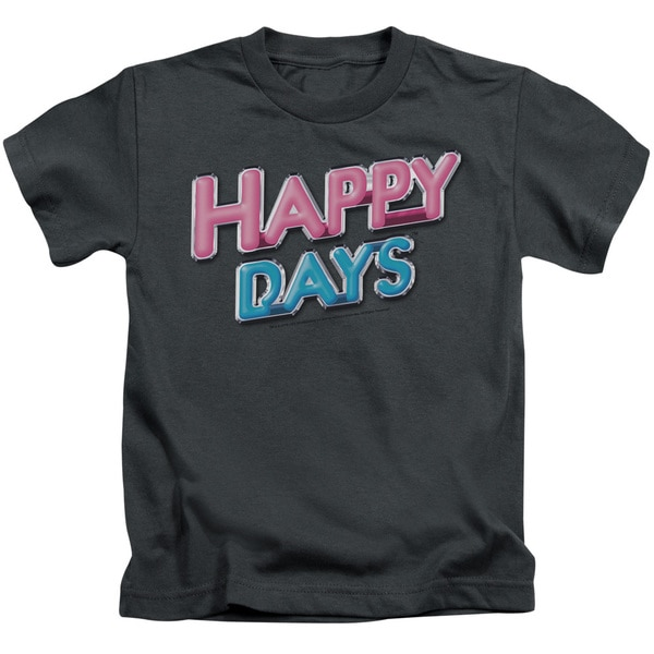 Happy Days/Happy Days Logo Short Sleeve Juvenile Graphic T-Shirt in Charcoal