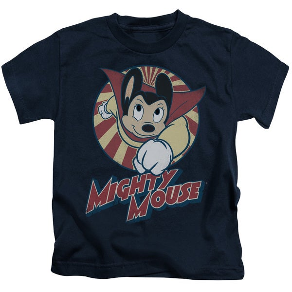Mighty Mouse/The One The Only Short Sleeve Juvenile Graphic T-Shirt in Navy