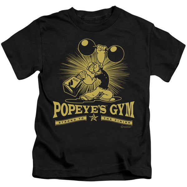 Popeye/Popeyes Gym Short Sleeve Juvenile Graphic T-Shirt in Black