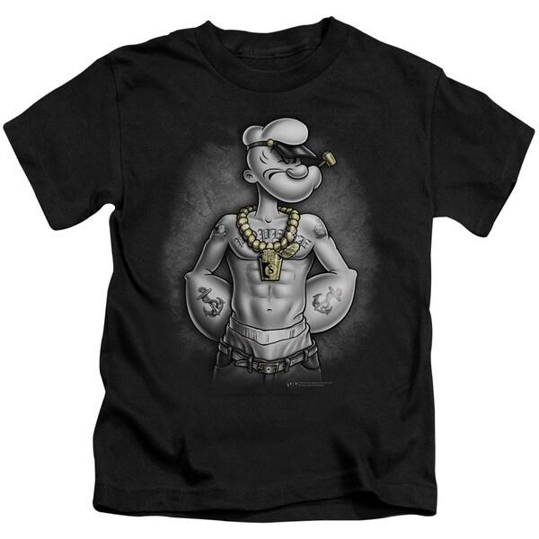 Popeye/HarDCOre Short Sleeve Juvenile Graphic T-Shirt in Black