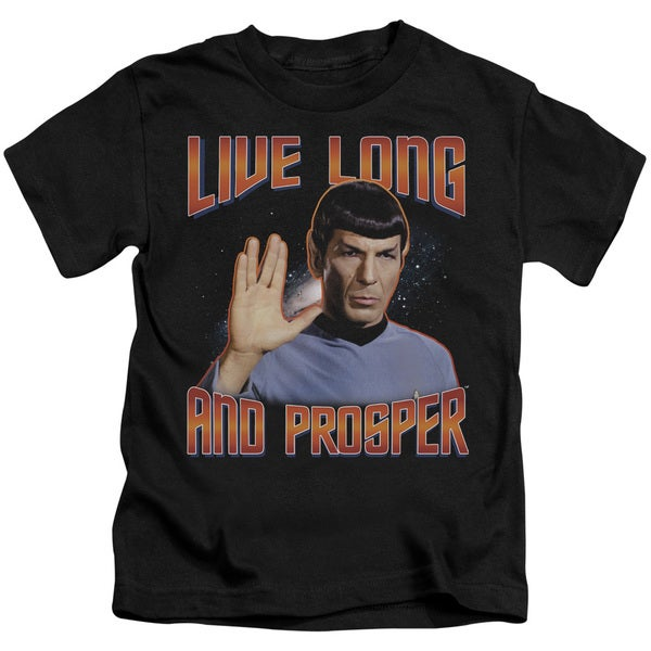 St Original/Live Long and Prosper Short Sleeve Juvenile Graphic T-Shirt in Black