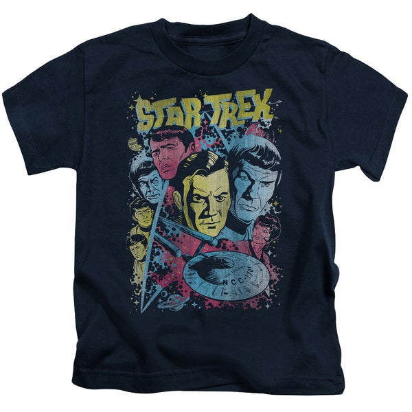 Star Trek/Classic Crew Illustrated Short Sleeve Juvenile Graphic T-Shirt in Navy