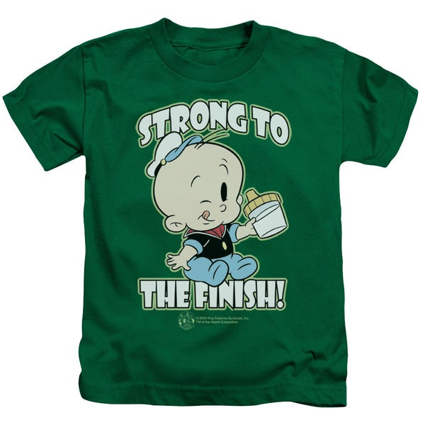 Popeye/Strong To The Finish Short Sleeve Juvenile Graphic T-Shirt in Kelly Green