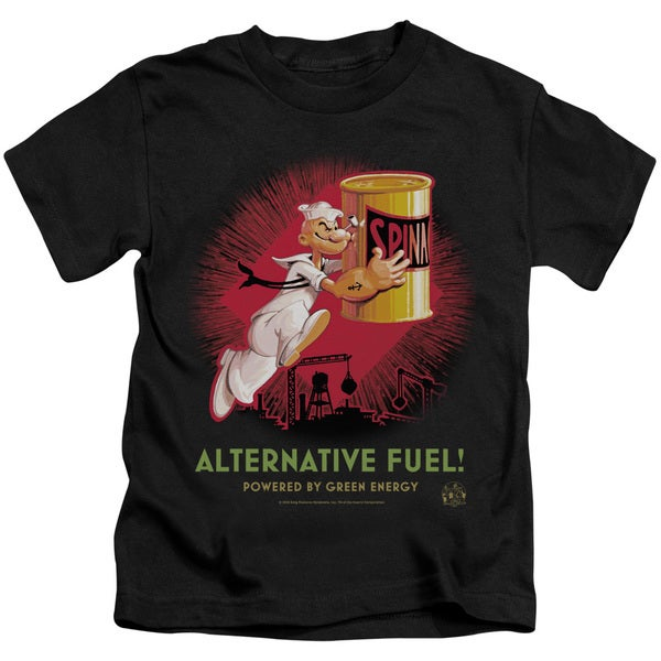 Popeye/Alternative Fuel Short Sleeve Juvenile Graphic T-Shirt in Black