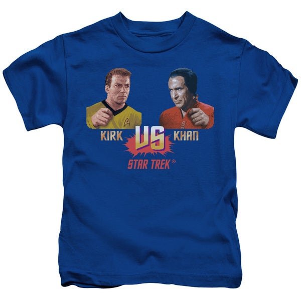 Star Trek/Kirk Vs Khan Short Sleeve Juvenile Graphic T-Shirt in Royal