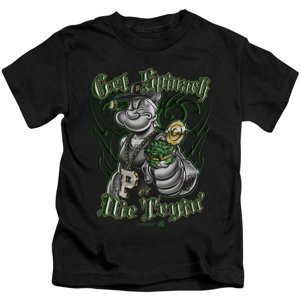 Popeye/Get Spinach Short Sleeve Juvenile Graphic T-Shirt in Black