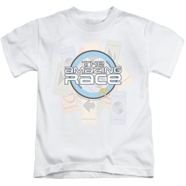 Amazing Race/The Race Short Sleeve Juvenile Graphic T-Shirt in White