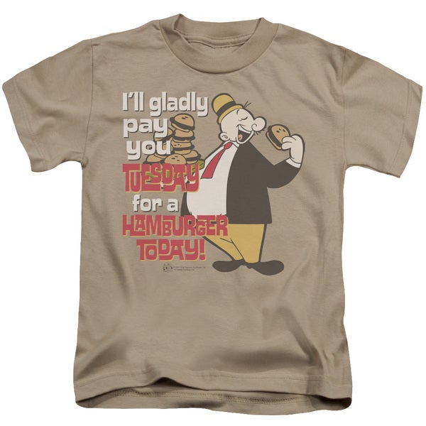 Popeye/Tuesday Short Sleeve Juvenile Graphic T-Shirt in Sand