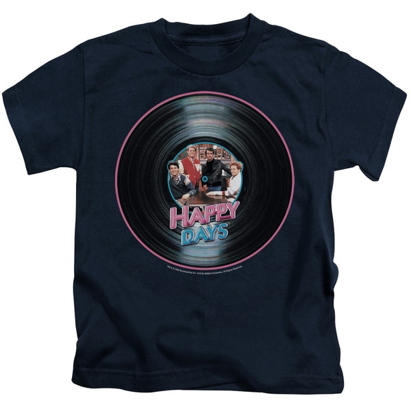 Happy Days/On The Record Short Sleeve Juvenile Graphic T-Shirt in Navy