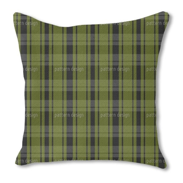 Tartan Black Green Burlap Pillow Single Sided