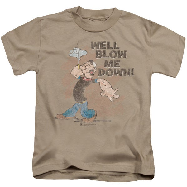 Popeye/Blow Me Down Short Sleeve Juvenile Graphic T-Shirt in Sand