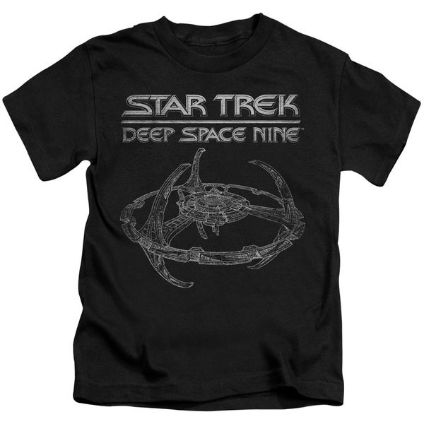 Star Trek/Ds9 Station Short Sleeve Juvenile Graphic T-Shirt in Black