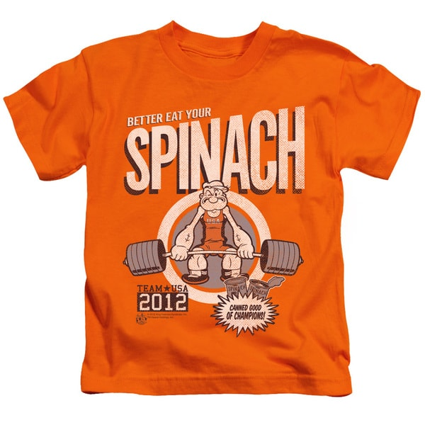 Popeye/Eat Your Spinach Short Sleeve Juvenile Graphic T-Shirt in Orange