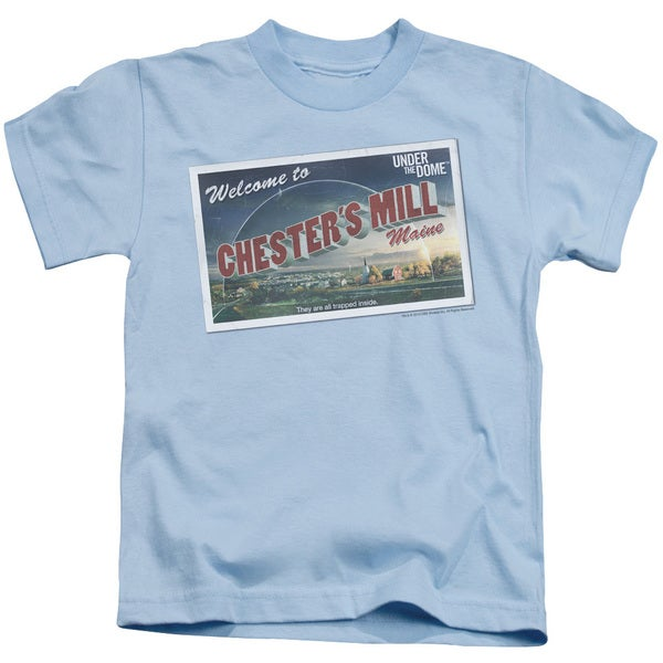 Under The Dome/Postcard Short Sleeve Juvenile Graphic T-Shirt in Light Blue