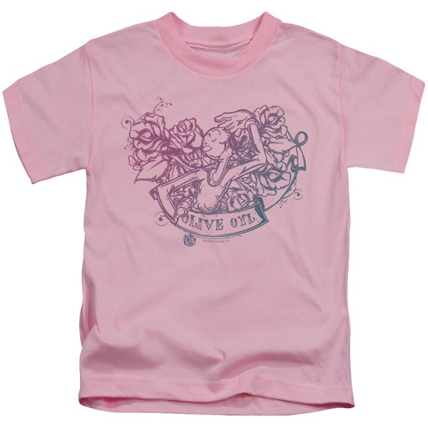 Popeye/Olive Oyl Tattoo Short Sleeve Juvenile Graphic T-Shirt in Pink