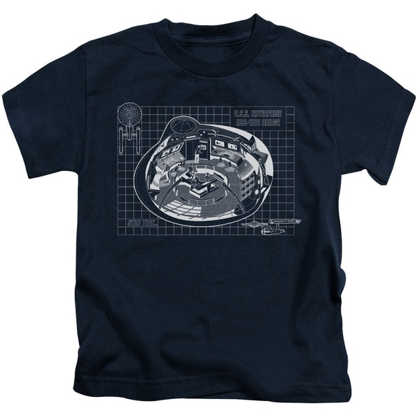 Star Trek/Bridge Prints Short Sleeve Juvenile Graphic T-Shirt in Navy