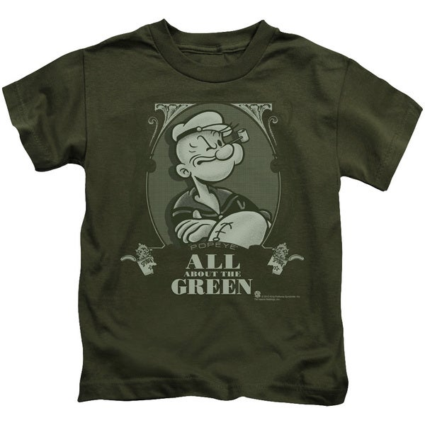 Popeye/All About The Green Short Sleeve Juvenile Graphic T-Shirt in Military Green