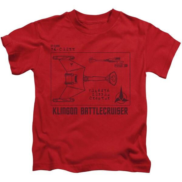 Star Trek/D7 Diagram Short Sleeve Juvenile Graphic T-Shirt in Red