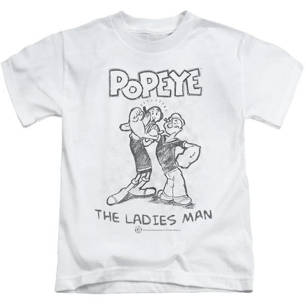 Popeye/Ladies Man Short Sleeve Juvenile Graphic T-Shirt in White