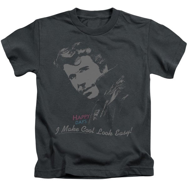 Happy Days/Cool Fonz Short Sleeve Juvenile Graphic T-Shirt in Charcoal