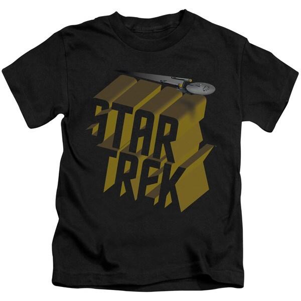 Star Trek/3D Logo Short Sleeve Juvenile Graphic T-Shirt in Black