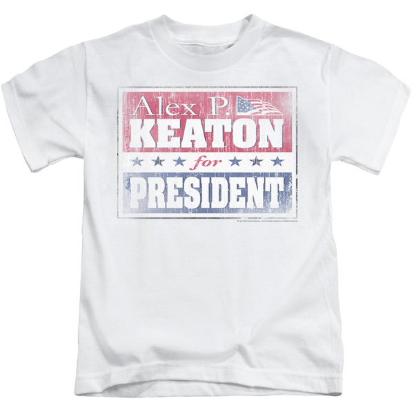 Family Ties/Alex For President Short Sleeve Juvenile Graphic T-Shirt in White