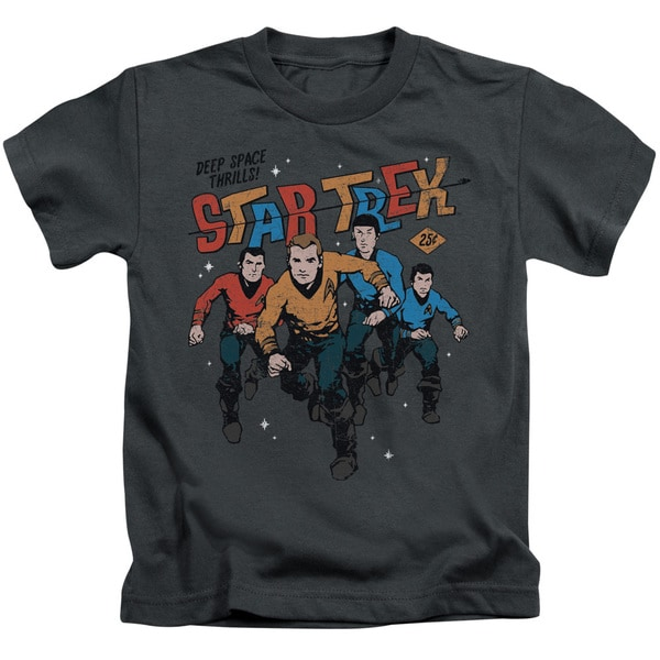 Star Trek/Deep Space Thrills Short Sleeve Juvenile Graphic T-Shirt in Charcoal