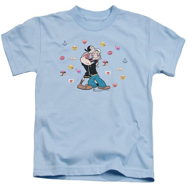 Popeye/Love Icons Short Sleeve Juvenile Graphic T-Shirt in Light Blue