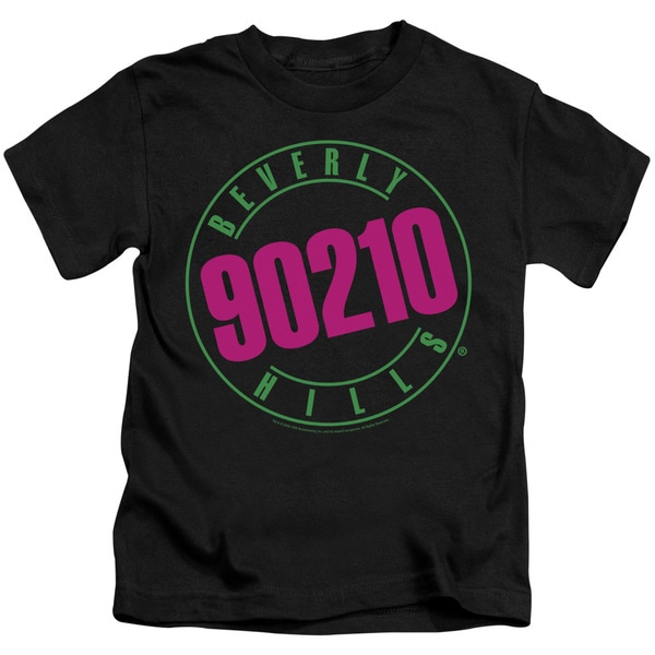 90210/Neon Short Sleeve Juvenile Graphic T-Shirt in Black