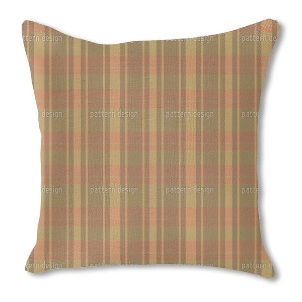 Tartan Brown Burlap Pillow Double Sided