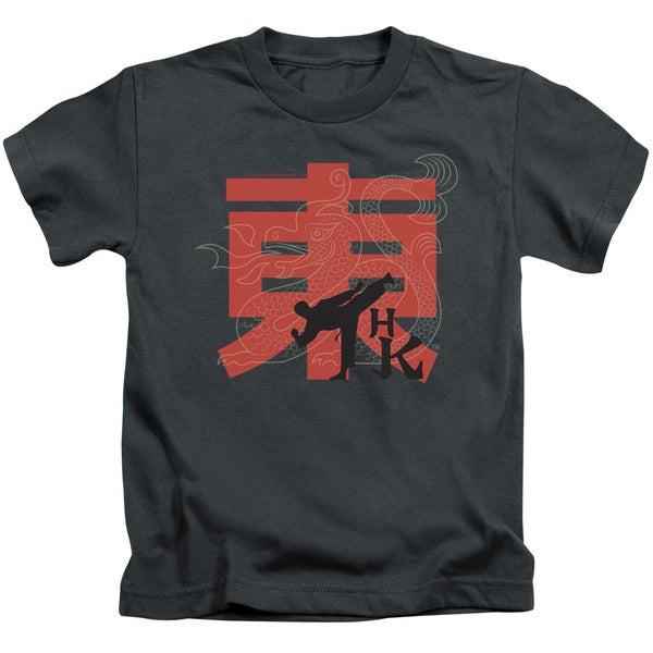 Hai Karate/Hk Kick Short Sleeve Juvenile Graphic T-Shirt in Charcoal