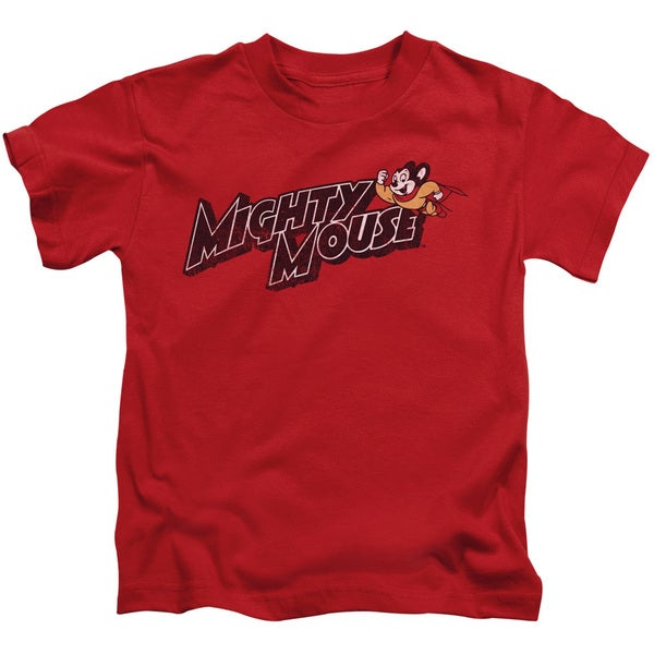 Mighty Mouse/Might Logo Short Sleeve Juvenile Graphic T-Shirt in Red