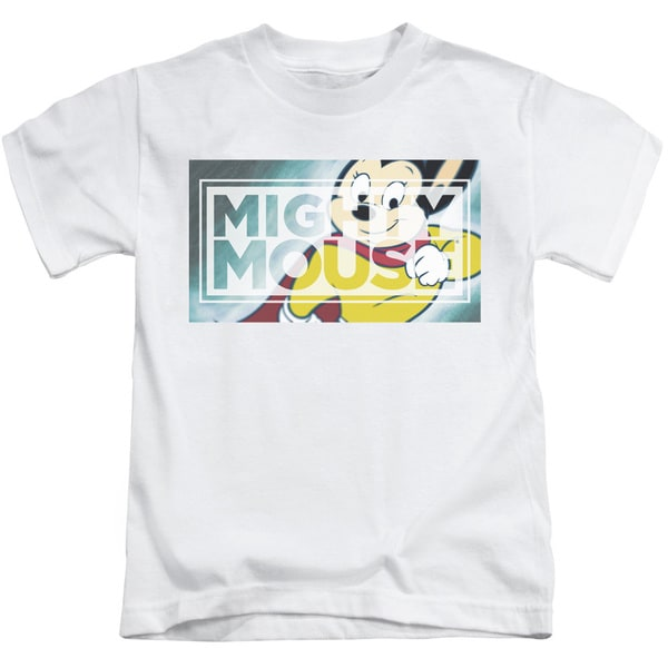 Mighty Mouse/Mighty Rectangle Short Sleeve Juvenile Graphic T-Shirt in White