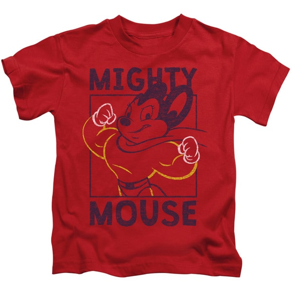 Mighy Mouse/Break The Box Short Sleeve Juvenile Graphic T-Shirt in Red